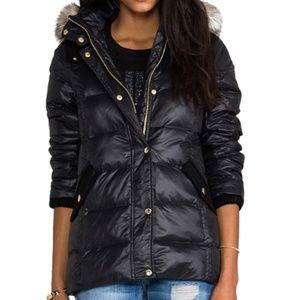 Long Puffer Jacket w/ Faux Fur